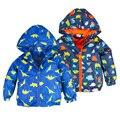 Dinosaur Windbreaker Children Jacket Girl Softshell Hooded Animal Printed Boy Coat Outerwear Spring Autumn Boys Jacket Clothing