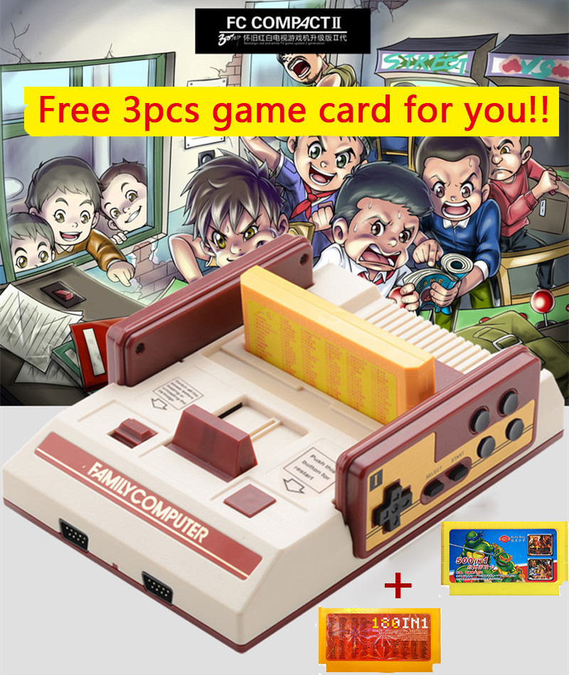New 8 bit TV Game Player Classic Red White Video Game Consoles Plug-in Yellow Card Family Game Console Free Player 680+ Games