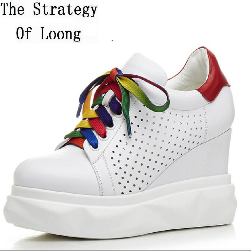 Fashion Simple Breathable Height Increasing Shoes Genuine Leather Spring Autumn Lace Up Chunky Heels Women Shoes ZY20170825 chilenxas 2017 leather men casual shoes style flats breathable height increasing new fashion lace up solid spring autumn light