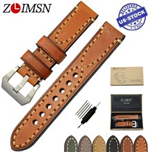 ZLIMSN Genuine Leather Watchband Relacement 20 22 24 26mm Men Women Watch Band Strap Stainless Steel Buckle relojes hombre 2017