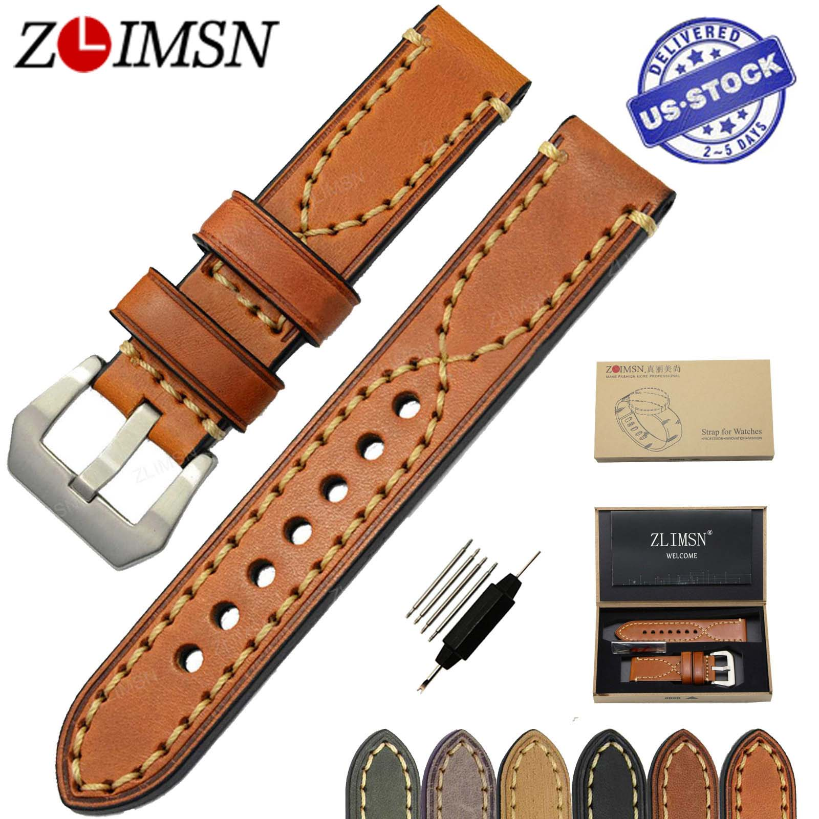 ZLIMSN Genuine Leather Watchband Relacement 20 22 24 26mm <font><b>Men</b></font> Women Watch Band Strap Stainless Steel Buckle relojes hombre 2017