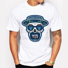 2019 dos homens Mais Recente moda breaking bad Heisenberg t-shirt do crânio  Harajuku engraçado camisetas Hipster O Pescoço parte. 06e6fe30fab96