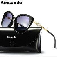 KINSANDE Oversize Women Sunglasses Pearl Decoration Polarized Outdoor Eyewear Coated Lens Cool Sun Glasses Driving Glasses