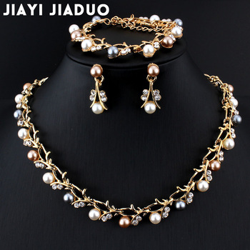 Jiayijiaduo Hot Imitation Pearl Wedding Necklace Earring Sets Bridal Jewelry Sets for Women Elegant Party Gift Fashion Costume