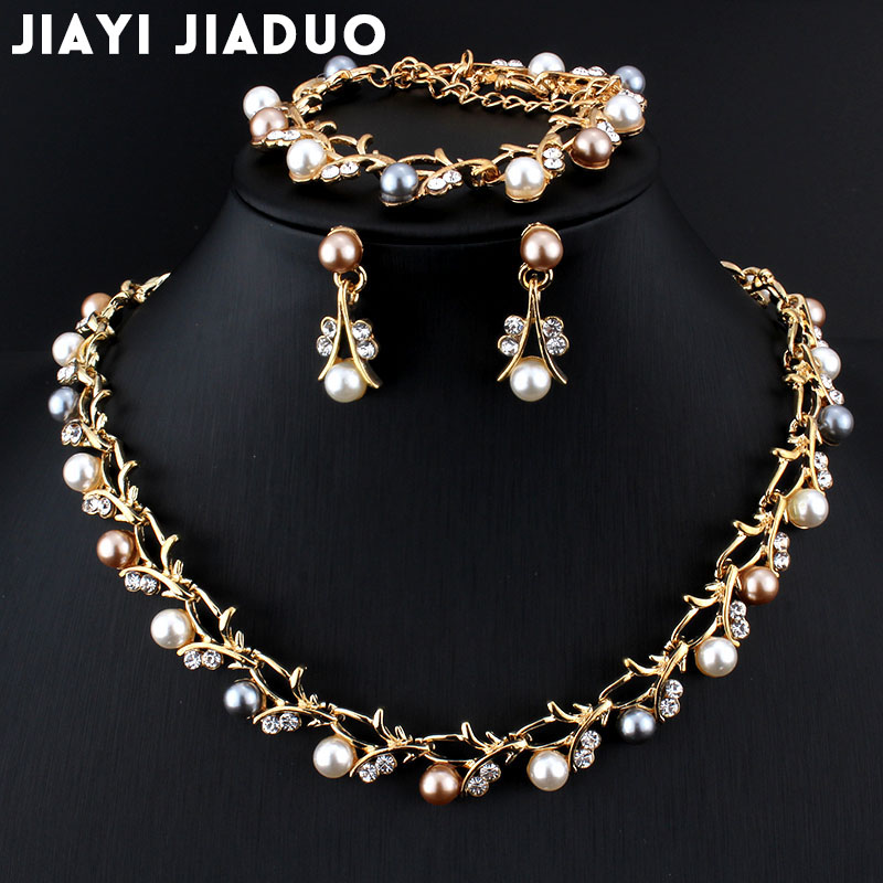 Jiayijiaduo Imitation Pearl Wedding Necklace Earring Sets Bridal Jewelry Sets Party Gift Costume