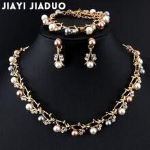 0f32c11151fd Jiayijiaduo caliente imitación perla boda collar pendiente conjunto de joyería  nupcial para mujer elegante fiesta regalo moda di.