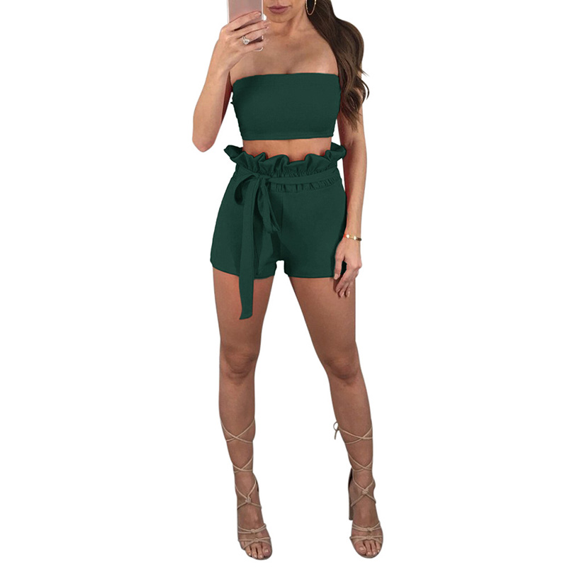 Sexy Women Two Piece Set Off the Shoulder Strapless Casual Solid Crop Top High Waist Belt Ruffles Shorts Suits Streetwear 2019