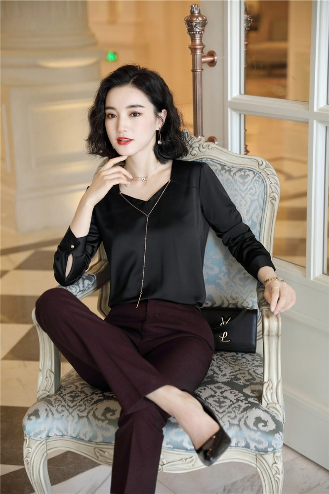 Ladies Office Elegant Black Formal Women Business Suits 2 Piece Set With Pants And Tops OL Styles Blouses Shirts Pantsuits