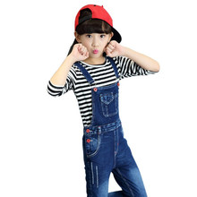 цена на Girls Jeans Overalls For Girl Denim 2018 Autumn Pocket Jumpsuit Bib Pants Children's Jeans Baby Girls Overall For Kids 5-14Years