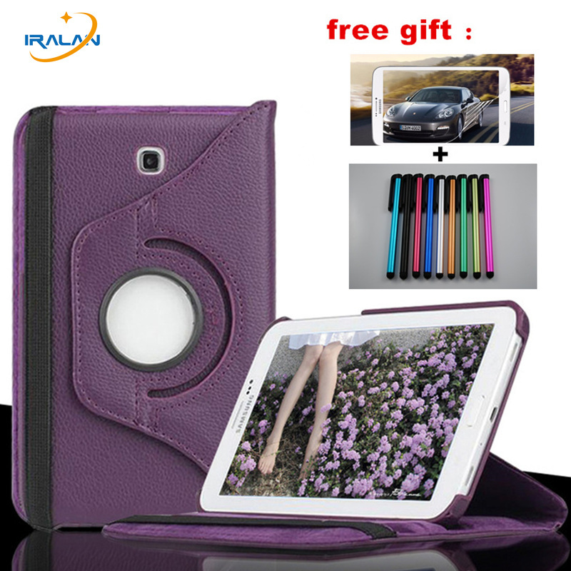 Hot 360 Rotating PU Leather case for Samsung Galaxy Tab 4 7.0 SM-T230 T231 with stand function protective cover+stylus + film