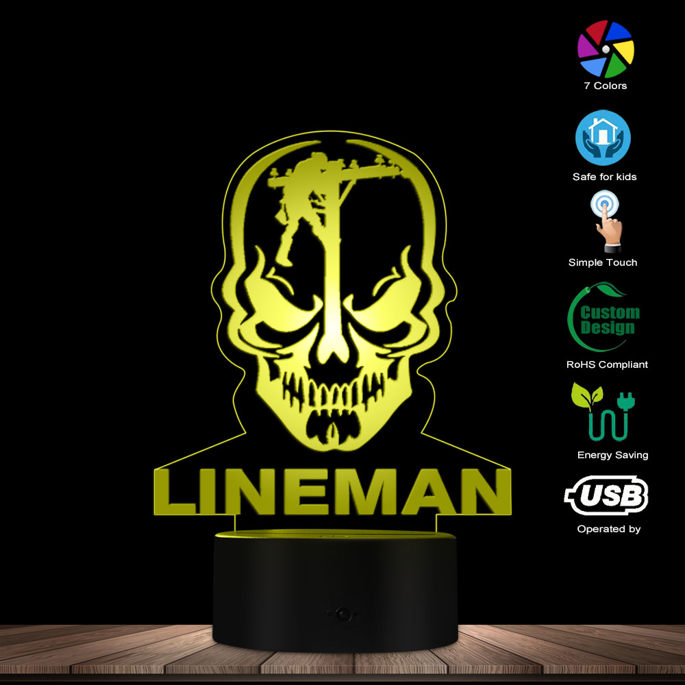 Personalised Lineman Inspired LED Lights Lineman Skull 3D Optical Illusion Lamp Custom Designed Lamp Decorative Electrician Gift