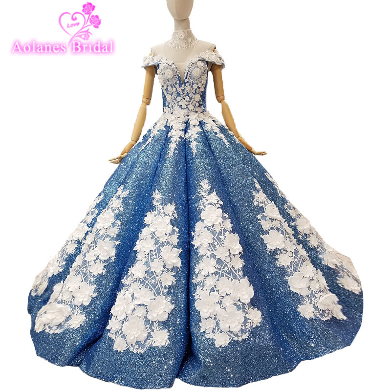2018 New Arrival Blue Sequin Appliques V-neck Evening Dress Floor-length Waves Ball Gown Sleeveless Vintage Party Prom Dresses