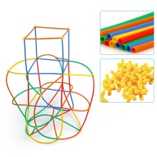 цена на 4D DIY Straw Building Blocks Plastic Stitching Inserted Construction Assembled Blocks Bricks Educational Toys for Children Gift