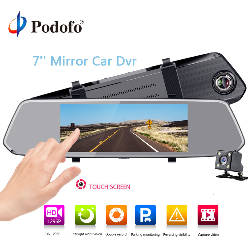 Podofo 7 Car DVR Mirror Camera Full HD 1080P Video Recorder Dual Lens Registrar Rear view dvrs Dash cam Auto Parking Assistance автомобильное зарядное устройство ldnio 1 usb 2 1а кабель apple 8 pin dl c12 white