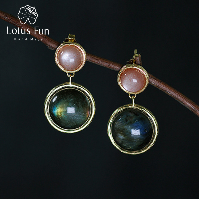 Lotus Fun Real 925 Sterling Silver Natural Labradorite Handmade Fine Jewelry Mysterious Lake Dangle Earrings for Women Brincos цена