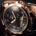 Jaragar Klassische Business Uhr Mens Automatische Edelstahl Datum Tourbillon Mechanische Uhren Leder Handgelenk relogio masculino-in Mechanische Uhren aus Uhren bei
