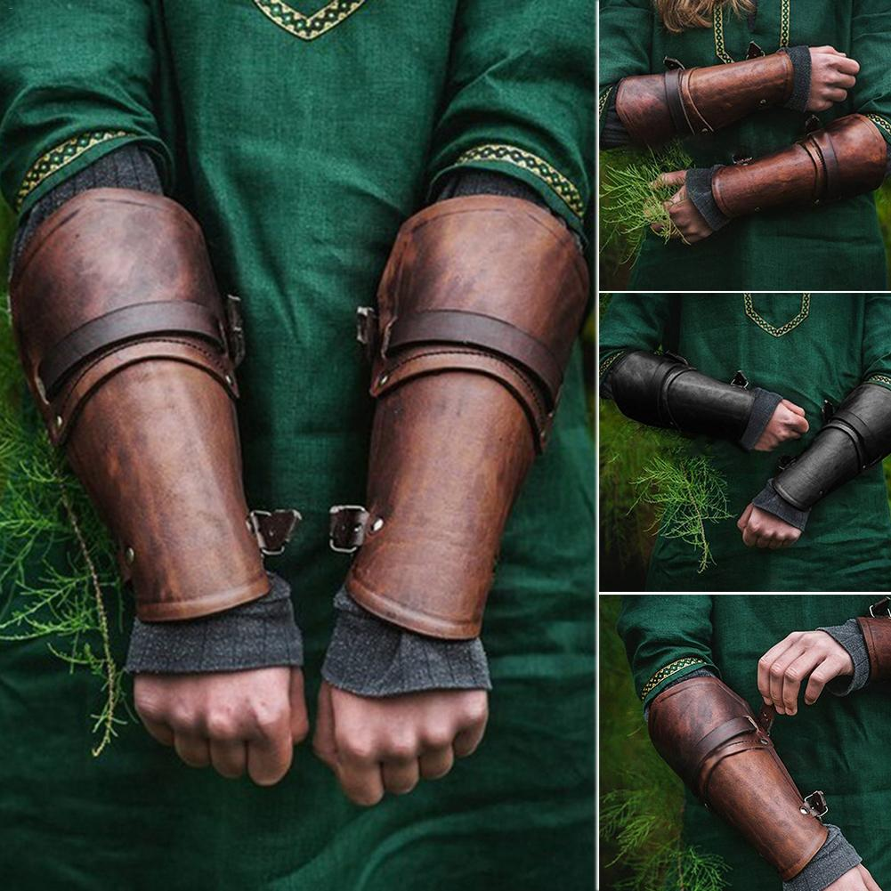 1 Pair Faux Leather Cosplay Props Wide Bracer Lace Up Arm Armor Cuff Cross String Steampunk Medieval Gauntlet Wristband