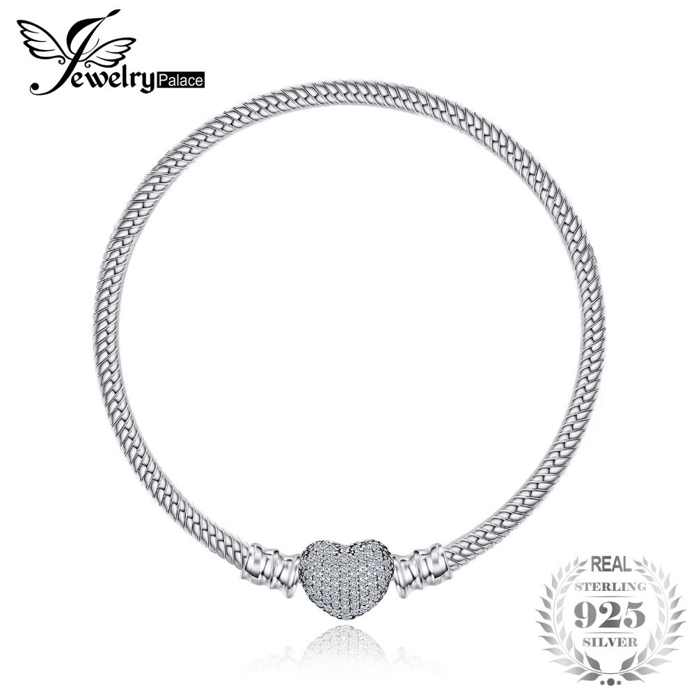 Jewelrypalace 925 Sterling Silver ElegantPave Heart Clasp Bracelets Love Gift Jewelry Fashion Women Gifts Anniversary New new high quality women men noble 925 stamp silver plated bracelets fashion jewelry gifts mens 10mm square nice jewelry bracelet