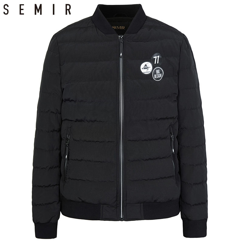 SEMIR down jacket for man casual baseball warm outerwear down jacket for men winter duck down appliques clothes men clothing