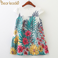 Bear Leader Girls Dresses 2018 New Fashion Princess Clohting Lush Leaves Flower Pattern Sleeveless Girls Dresses