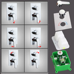 Image 4 - hm Shower Faucet Mixing Valve 3 Ways Concealed Easy mount Box 2 Handles Brass Concealed Valve Chrome Hot and Cold