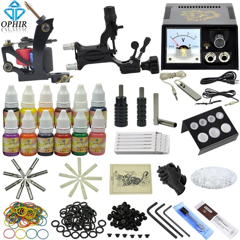 OPHIR 346Pcs/Set Pro Tattoo Kits for Body Tattoo Art Dragonfly Tattoo Machine Guns 12Colors Tattoo Inks Needles Grips _TA070
