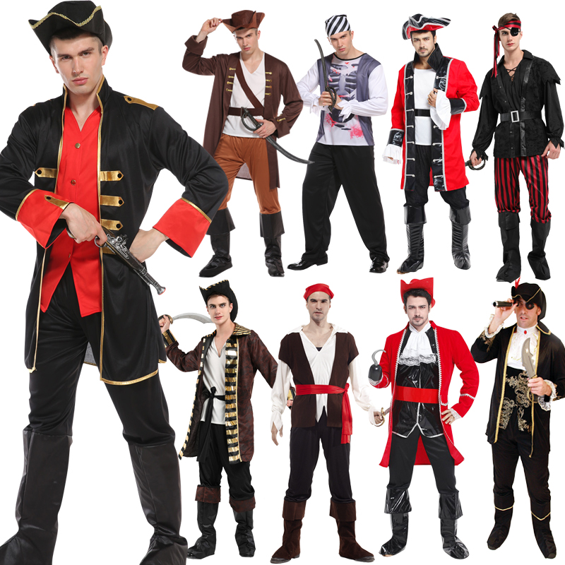Adult Men/'s Cool Pirate Costume Carnival Party Striped Viking Cosplay Outfits