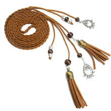 vintage braided rope pu waist belts for women