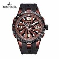 Новый дизайн Риф Тигр/RT повернуть пилот Часы мужские коричневый циферблат спортивные часы каучуковый ремешок автоматические часы RGA3059