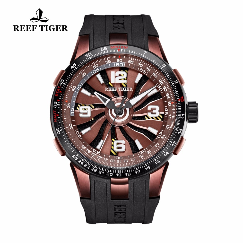 New Design Reef Tiger/RT Rotate Pilot Watches Mens Brown Dial Sport Watches Rubber Strap Automatic Watch RGA3059 機械 式 腕時計 スケルトン