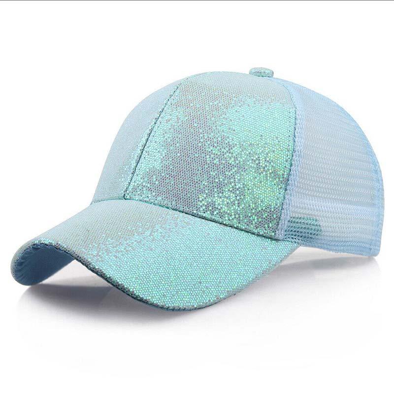 Женская бейсбольная кепка с хвостиком для девочек, летняя блестящая Кепка с блестящим блеском,, летние модные уличные спортивные солнцезащитные очки, головные уборы - Цвет: mint green