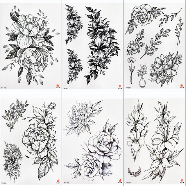 Rose Peony Flower Girls Temporary Tattoos For Women Waterproof Black Tattoo Stickers 3D Blossom Lady Shoulder DIY Tatoos