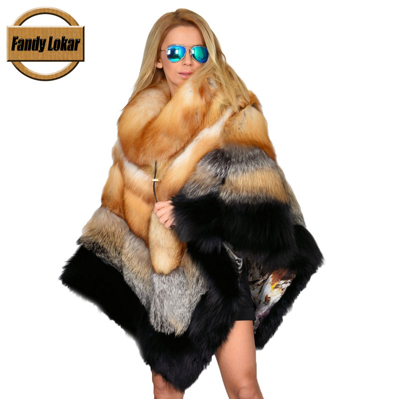 Fandy Lokar New Real Fox Fur Coat Women Winter Thick Fur Poncho Real Fox Fur Jacket Overcoat Female Ladies Fashion Furs Jackets
