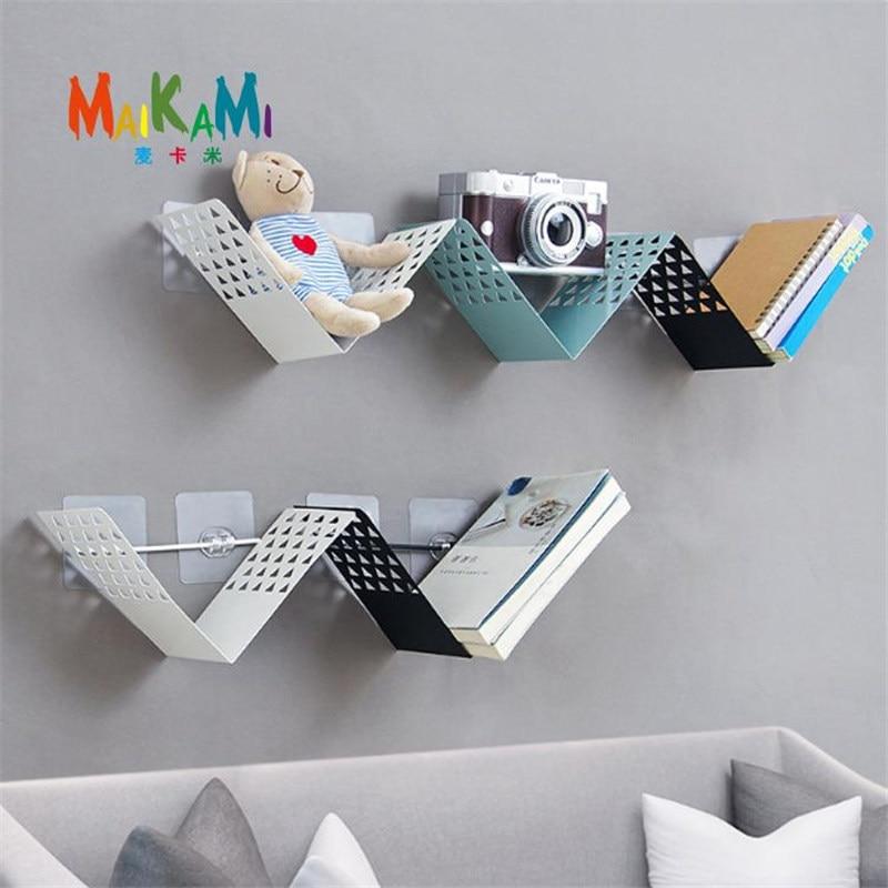 MAIKAMI 1Pcs Metal Wall Rack Iron Holder Multi-use Wall Sundries Holder Wall Shelf Storage Basket House Home Decor Dropshipping