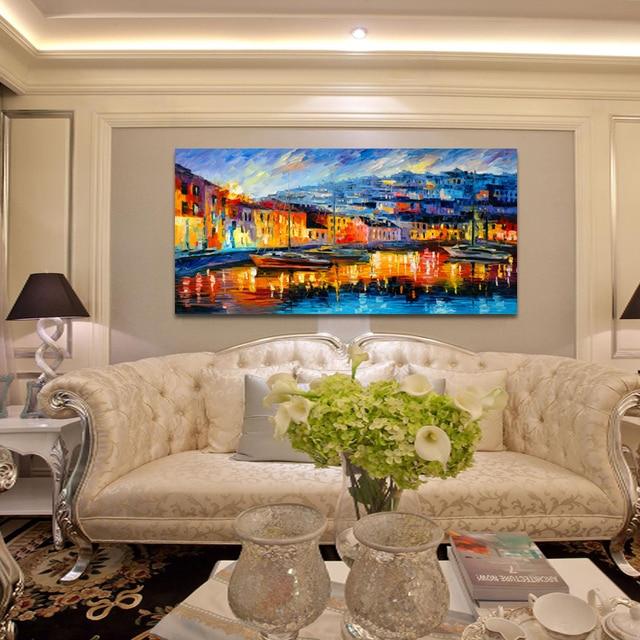 haven boten abstract landschap schilderij eetkamer slaapkamer muur ...