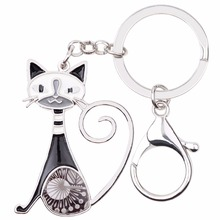 Psychedelic Patchwork Tall Cat Keychain (6 Colors)