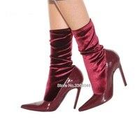 2019 Модные женские ботильоны в стиле пэтчворк на высоком каблуке шпильке с острым носком, эластичные женские туфли лодочки без шнуровки, жен