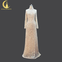 JIALINZEYI Luxurious Elie Saab Long Sleeves High Neck With Full Beads Sequins Champagne Formal Dresses Party Evening Dresses