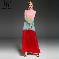 2017 Spring Runway Designer Long Dress Women S High Quality Long Sleeve Stand Collar Red Yellow