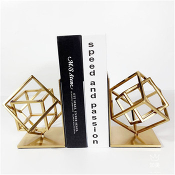 Nordic Golden Geometry Cube Iron Bookends Personality Study Room Book Shelf Ornaments Office Desktop Book End Decoration X1942
