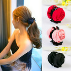 New Fashion Girls Woman Rose Headwear Accessories Cotton Fabric Black Exquisite Plastic Teeth Hair Clips