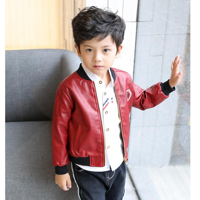 JENYA 2018 new boys children chothing faux leather jacket spring&autumn kids casual mandarin collar solid Outerwear&Coats cw008