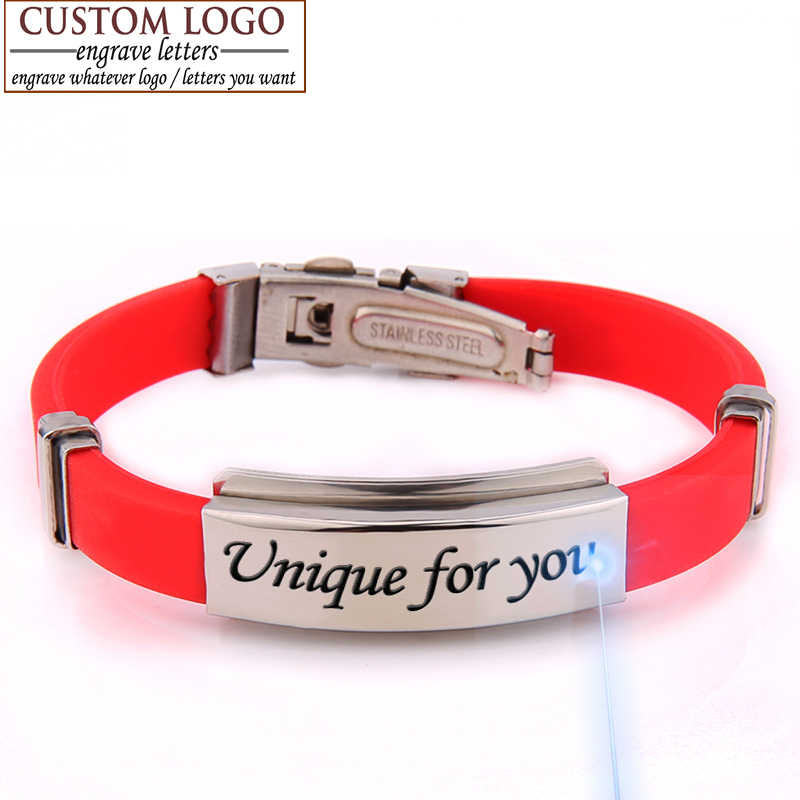 Valentine Stainless Steel Bracelets For Women Rubber ID Bracelet Men Bracelet Jewelry Couple Bracelets Bangles Customized Logo