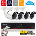 SUNCHAN 4CH CCTV System 1080N AHD 4 Channel CCTV DVR 4PCS 1.0MP IR Outdoor Security Camera 1200TVL Camera Surveillance System