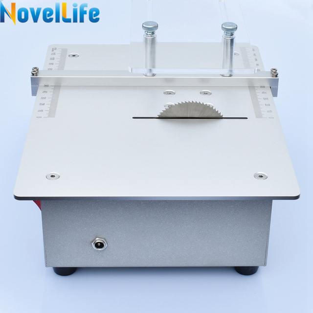 Mini Table Saw Handmade Woodworking Bench Saw DIY Hobby Model Crafts Cutting Saw with Power Adapter 24V 3800RPM Metal Frame 4