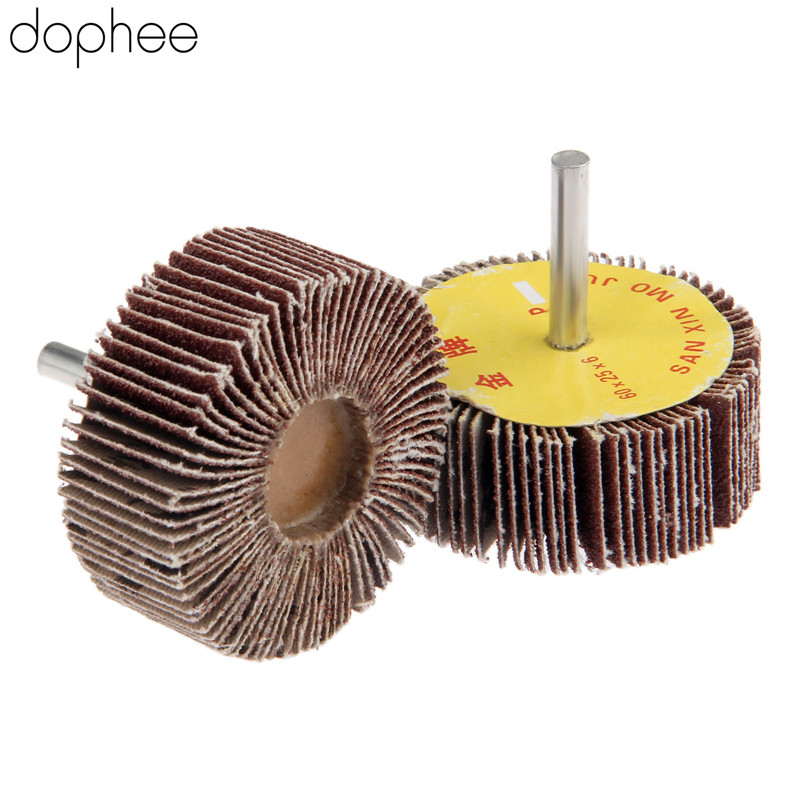 Dophee Dremel Accessories Grinding Buffing Sandpaper Flap Wheel Head 60mm + Mandrel 6mm For Mini Drill  Rotary Tools 80-Grit 1PC