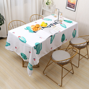 1 Piece Waterproof Table Cloth Chic Cactus Marble Pattern Multifunctional Rectangle Table Cover Tablecloth Home Kitchen Decor