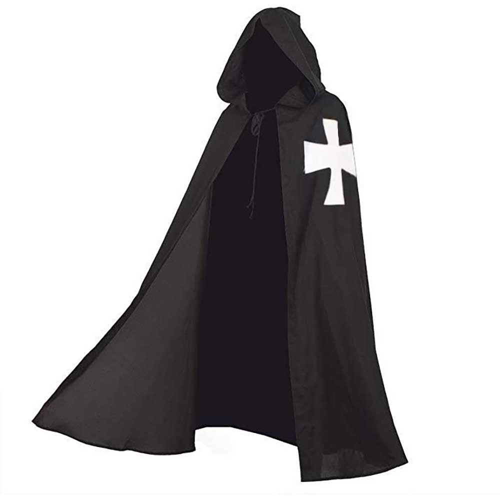 Adult Medieval Knight Templar Cape The Maltese Cross Hooded Robe Cloak Paladin Roleplay Fancy Dress Halloween Costume for Men