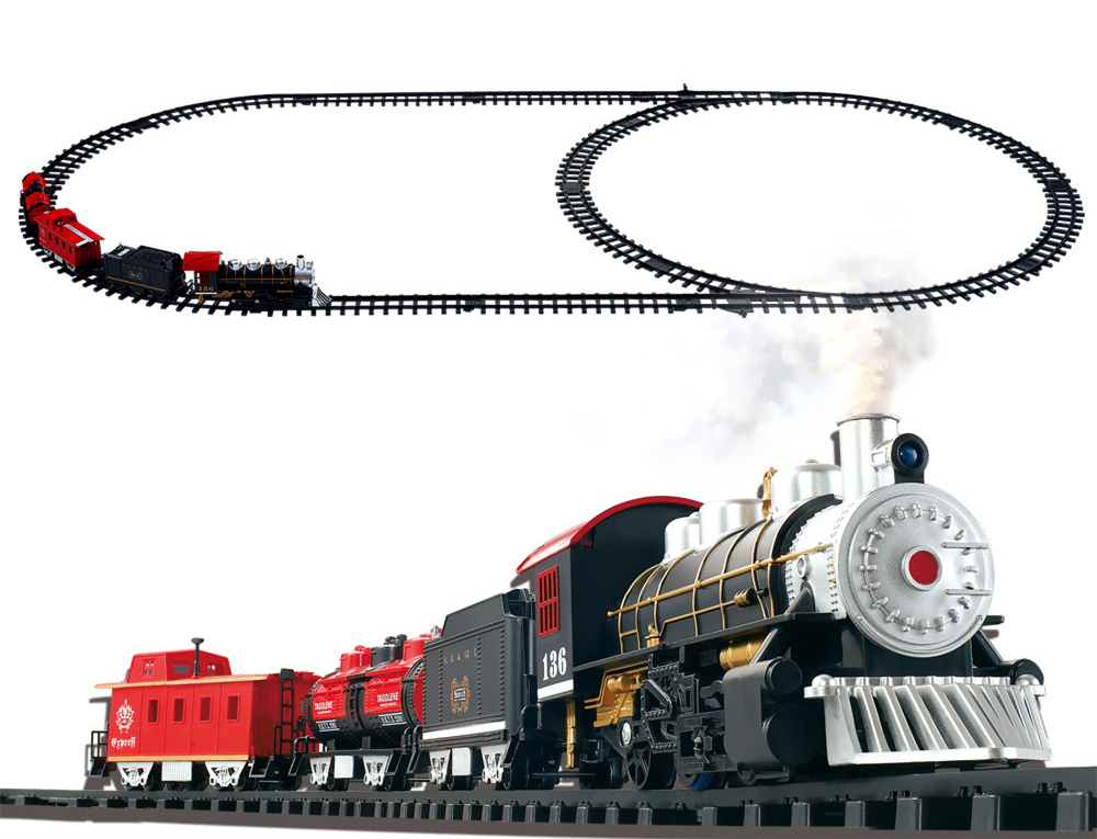[ Funny ] Electric Rail train classical Train with Sound, Light, and Real Smoke Train track toy Slot train model baby kids gift