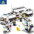 KAZI bloques de construcción de la estación de policía modelo de construcción bloques Compatible Legoe ciudad bloques de bricolaje ladrillos juguetes educativos para los niños